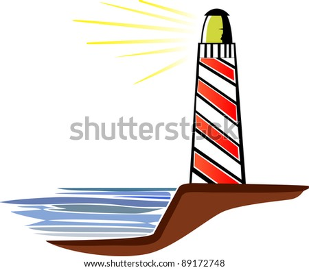 A vector illustration of a light-house on a white background. - stock vector