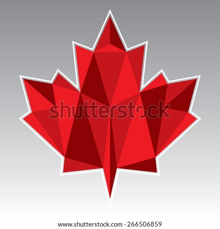 A vector illustration of a low poly maple leaf. - stock vector