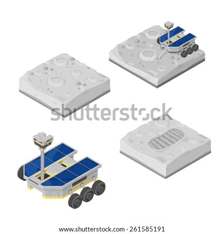A vector illustration of a lunar rover picking up samples on the moon's surface. Moon Rover.  Moon Mission with rover collecting samples. - stock vector