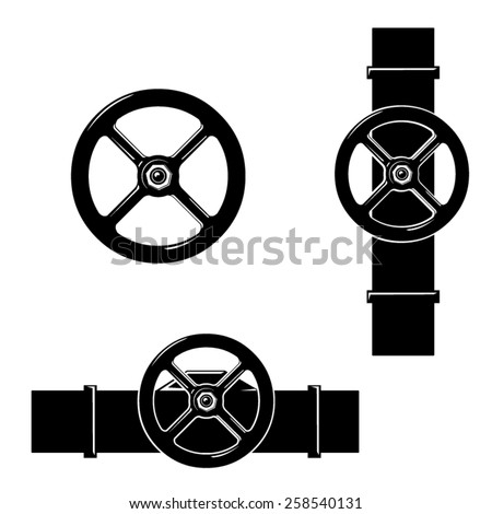 A vector illustration of a machines pipe with valve wheel. Industrial Valves. Pipe with metal valve attached. - stock vector