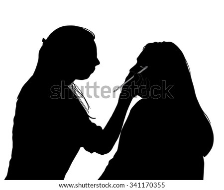 A vector illustration of a makeup artist working on a client at a beauty salon