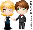 A vector illustration of a man and woman dressed in elegant evening wear. - stock vector
