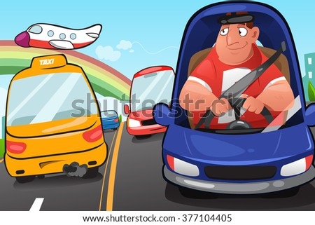 A vector illustration of a man driving a car