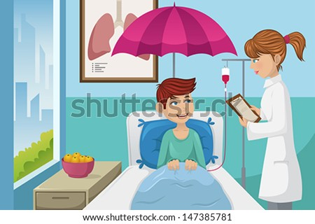 A vector illustration of a man in the hospital for  - stock vector