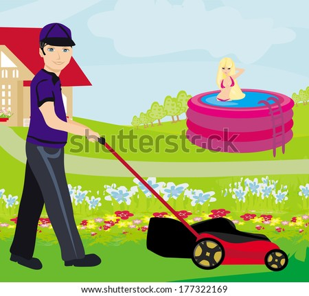 A vector illustration of a man mowing the lawn  - stock vector