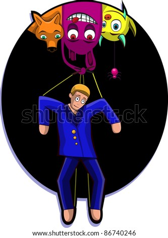 A vector illustration of a marionette, controlled by monsters. Can be recolored or scaled without problems and quality loss - stock vector