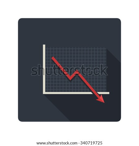 A vector illustration of a market crash and recession business chart. Market Crash Business Icon illustration. Flat Icon style of Information displayed with a visual graph.  - stock vector