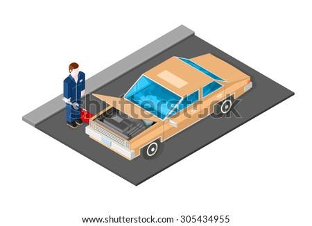 A vector illustration of a mechanic repairing a car. Car Mechanic icon illustration. Isometric Auto mechanic. - stock vector