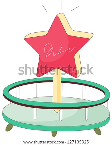 A vector illustration of a merry-go-round - stock vector
