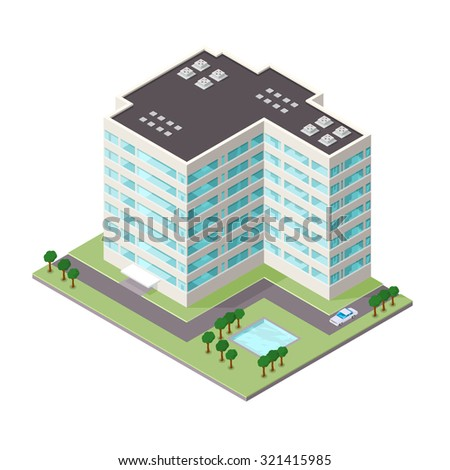 A Vector illustration of a modern commercial office building. Isometric Commercial Office Icon illustration. Company office buildings situated on road with grass, trees, and pond.