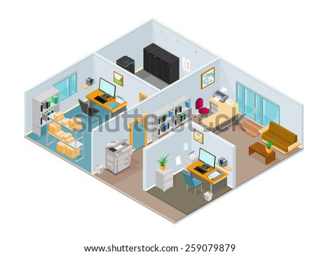 A vector illustration of a modern isometric office interior. Isometric office interior. Isometric open plan office. - stock vector