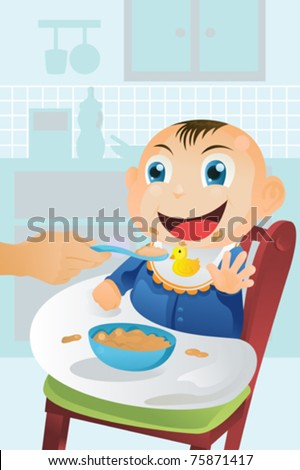 A vector illustration of a mother feeding her happy baby - stock vector