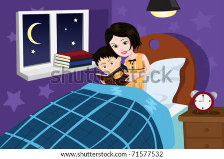 A vector illustration of a mother reading bedtime story to her son - stock vector