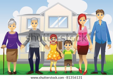 A vector illustration of a multi generation family in front of the house - stock vector