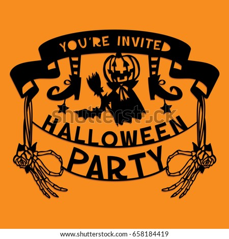 a vector illustration of a paper cut silhouette halloween party invitation banner the halloween banner - Holloween Party