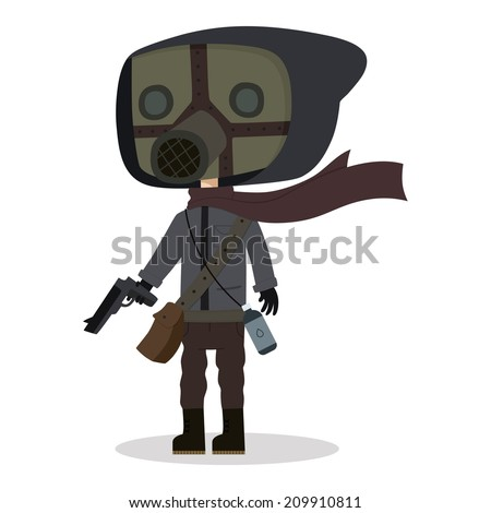A vector illustration of a person in a post apocalyptic era.