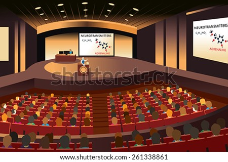 A vector illustration of a presentation in a conference in an auditorium - stock vector