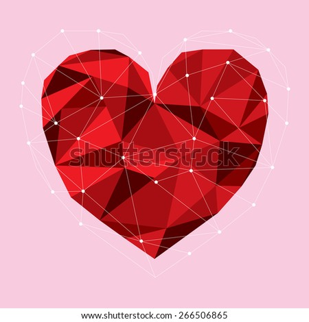 A vector illustration of a red low poly heart surrounded by a wireframe cage. - stock vector