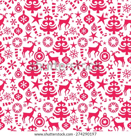 Vector Illustration Red Whimsical Christmas Seamless Stock Vector ...