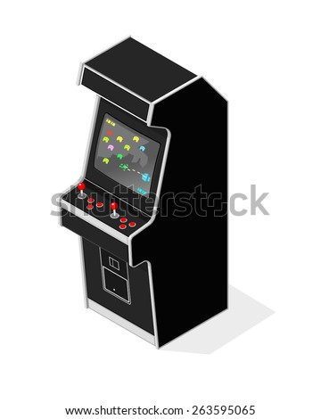 A vector illustration of a retro arcade machine. Retro Arcade Machine. Old fashioned retro game. - stock vector