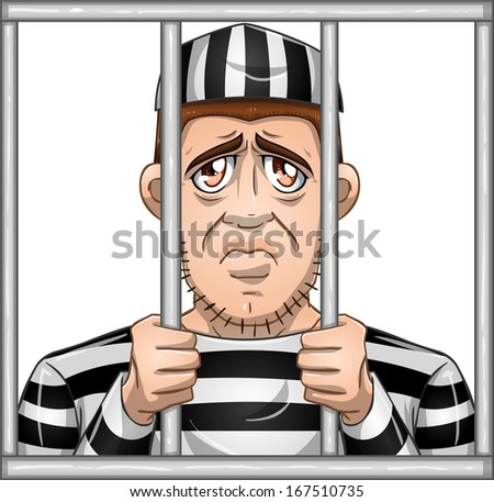 A vector illustration of a sad prisoner locked in jail behind bars.