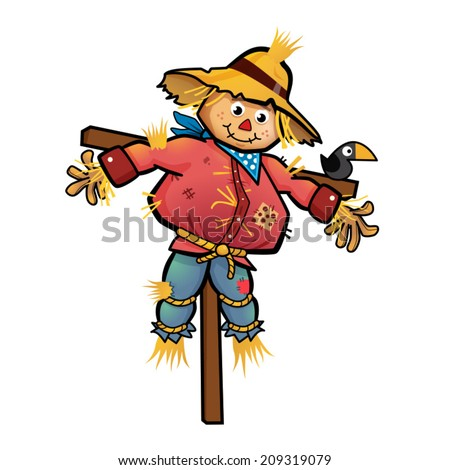 A vector illustration of a scarecrow.