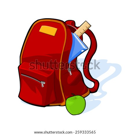 A vector illustration of a school backpack with book and ruler. Back to school. School bag.