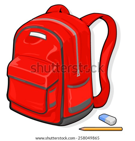 A vector illustration of a school bag. School bag. A kids schoolbag with pencil and eraser.