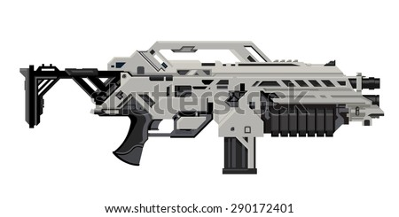 A vector illustration of a science fiction heavy assault rifle. Heavy Assault Rifle Illustration Icon. Futuristic weapon with grenade launcher, - stock vector