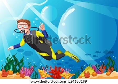 A vector illustration of a scuba diver diving in the ocean - stock vector