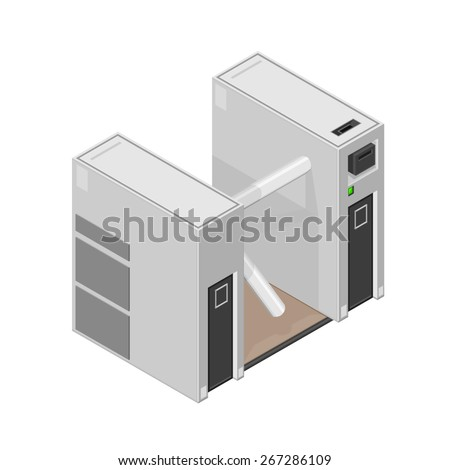 A vector illustration of a security turnstile. Isometric turnstile. Isometric security barrier. - stock vector