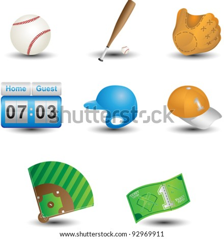 A vector illustration of a set of baseball icons - stock vector