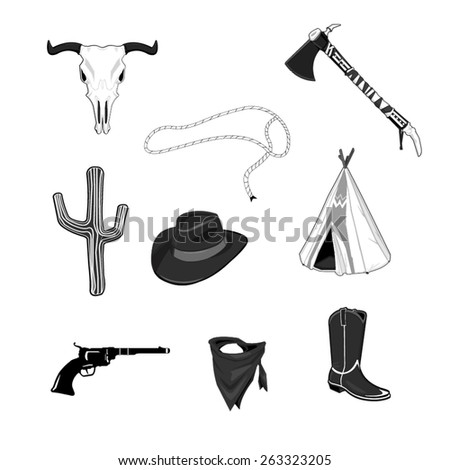 A vector illustration of a set of Cowboy and Indian Icon set. Wild West Cowboy Icons. Cowboy and Indian Icon set. - stock vector