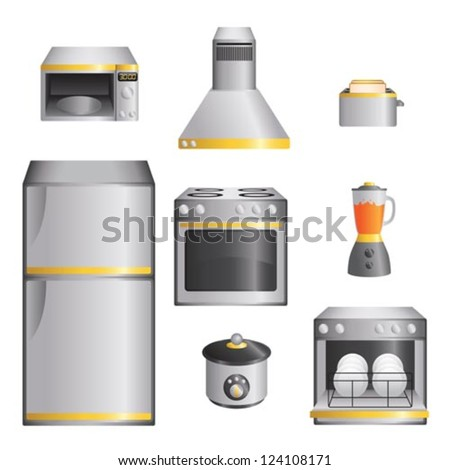 A vector illustration of a set of kitchen appliances