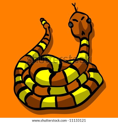 A vector illustration of a snake sticking out his tongue, looking threatening and cute at the same time. - stock vector