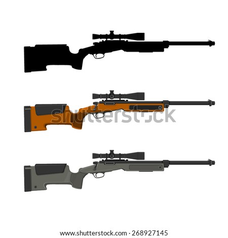 A vector illustration of a sniper rifle with a telescopic sight. Sniper Rifle Rifle with scope.