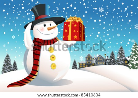 A vector illustration of a snowman holding a Christmas present - stock vector