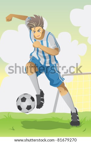 A vector illustration of a soccer player running and kicking a ball - stock vector