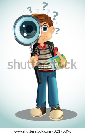 A vector illustration of a student holding a magnifying glass and books