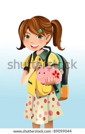 A vector illustration of a student saving money into a piggy bank - stock vector