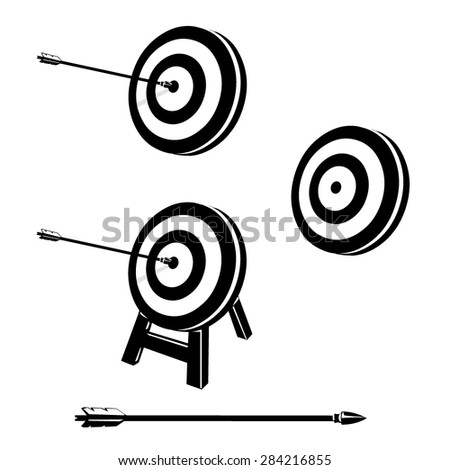 A vector illustration of a vector archery target with arrow. Bulls eye on archery target. On target icon concept. - stock vector