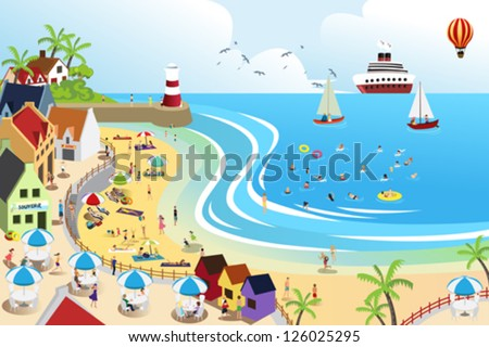 A vector illustration of a view of a beach town from above - stock vector