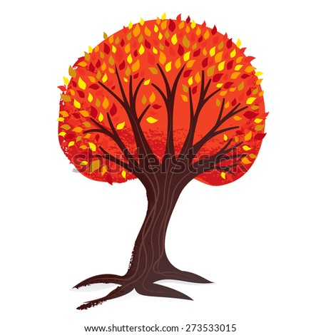 A vector illustration of a vintage textured tree in autumn/fall hues.