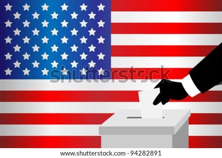 A vector illustration of a voting man inserting his ballot into the ballot box - stock vector