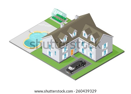 A vector illustration of a wealthy family home. Isometric Mansion House. Mansion House with pool, car and garden. - stock vector