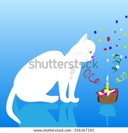 a vector illustration of a white birthday cat, sitting by the birthday cake with candle and ribbons