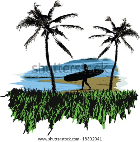 A vector illustration of a woman surfer on the beach - stock vector