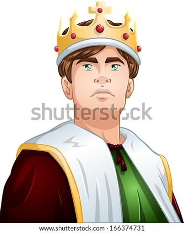 A vector illustration of a young king wearing a crown and cape.  - stock vector