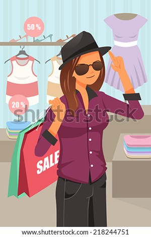 A vector illustration of a young modern woman shopping inside the clothing store - stock vector