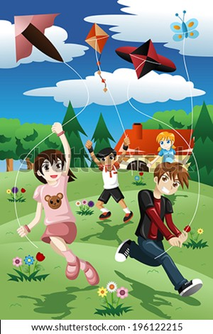 A vector illustration of active kids flying kite in the park - stock vector